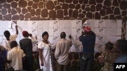 Cử tri dò tìm tên họ trong danh sách đăng ký tại 1 trạm bỏ phiếu ở thủ đô Kinshasa, Cộng Hòa Dân Chủ Congo, 28/11/2011