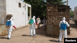 FILE - Health workers spray disinfectant at a mosque, in Bamako, Mali, November 2014.