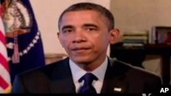Pidato mingguan Presiden Obama hari Sabtu (5/1) memuji kesepakatan jurang fiskal oleh Kongres AS pekan ini.