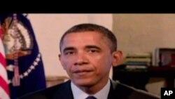 奧巴馬總統在一次每週例行講話的錄制中