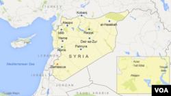 Peta wilayah Suriah dengan lokasi kota Aleppo, Azaz, Tell Rifat, dan waduk Tihsrin.