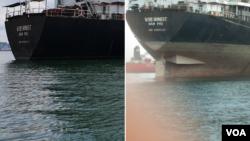 인도네시아에 억류된 선박 와이즈 어네스트 호의 선미 부분 사진. 석탄 하역 전인 지난달 27일 배 아랫부분이 물에 잠겨있지만(왼쪽) 하역을 마친 후인 지난 11일에는 배가 떠올라 아랫부분이 수면 위로 떠올랐다.