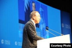 United Nations Secretary General Ban Ki-moon wants delegates at the UN Conference on Climate Change in Doha to speed up their work on an agreement.