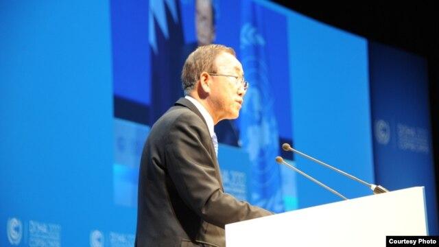 Tổng thư ký LHQ Ban Ki-moon kêu gọi các đại biểu tại hội nghi mau chóng xúc tiến đạt thỏa hiệp về biến đổi khí hậu.