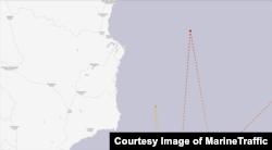 카트린 호가 북한 내륙에서 인접한 항로를 운항하는 모습. 지난해 7월14일엔 함경북도 화대군에서 약 25km 떨어진 곳을 지나쳤고, 6월21일 운항 땐 신포에서 약 40km 떨어져 있다. MarineTraffic 제공.