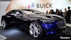 FILE – GM unveils its Buick Avista concept car at the North American International Auto Show in Detroit, Michigan, Jan. 12, 2016. U.S. car sales declined in August, the Commerce Department reports.