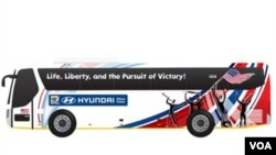 """En el ómnibus de Estados Unidos, las palabras """"Vida"""" y """"Libertad"""", además de la idea del ir tras la victoria, quedaron estampadas en la frase: """"Vida, libertad y la búsqueda de la victoria""""."""