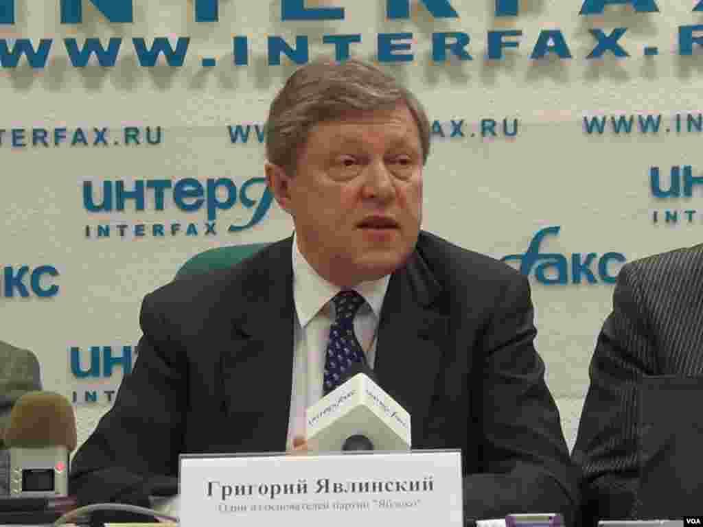 俄罗斯著名政治人物亚夫林斯基。(美国之音白桦拍摄)