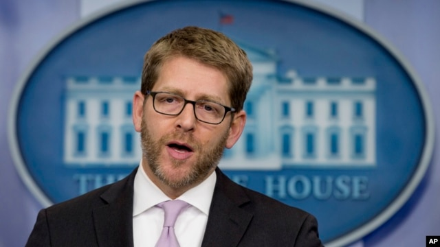 FILE - White House press secretary Jay Carney speaks during his daily news briefing at the White House in Washington, Jan. 22, 2014.