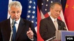 美国国防部长哈格尔、中国驻美大使崔天凯(资料照片)