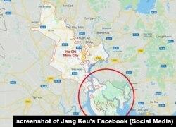 Bản đồ về địa điểm dự án lấn biển Cần Giờ, do Jang Kều đăng lên Facebook cá nhân