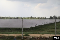 A solar panel farm in Kampong Speu province, Cambodia, June 2020. (Sun Narin/VOA Khmer