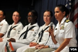 Cmdr. Shanti Sethi, commanding officer of the USS Decatur, answers questions from female students during an event to commemorate Women's History Month in Chennai, India, for a port visit in 2011. (U.S. Navy/Jennifer A. Villalovos)