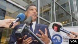 英國經公投決定脫離歐盟後,歐洲保守派及改革主義者聯盟領袖卡馬爾在布魯塞爾發表講話。