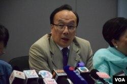 梁家傑表示,將會加強泛民協作,由立法會延伸到全香港18區。(美國之音湯惠芸攝)