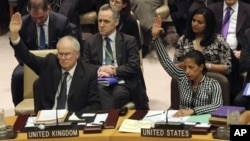 British Ambassador to the United Nations Mark Lyall Grant, left, and American Ambassador Susan Rice vote on a Security Council resolution condemning North Korea's rocket launch in December that sent a satellite into orbit