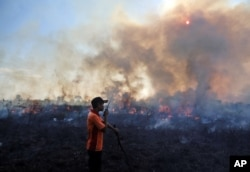 Kebakaran hutan di Sumatra bulan Juli tahun 2015 (foto: dok).