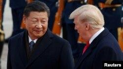 美國總統川普與中國國家主席習近平11月9日資料照。