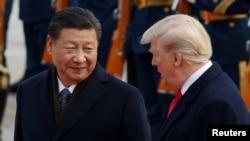 中國國家主席習近平在人民大會堂歡迎到訪的美國總統川普。