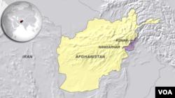 Provinsi Kunar dan letak Nanghargar di peta wilayah Afghanistan.