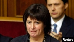 FILE - Ukrainian Finance Minister Natalie Jaresko says her country's economy shrank as much as 10 percent in the first quarter.