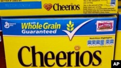 Boxes of Cheerios, made by General Mills, at Piazza's grocery, Palo Alto, Calif., June 28, 2011.