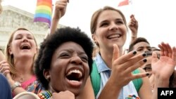 People celebrate outside the Supreme Court after its historic decision on gay marriage, in Washington, D.C., June 26, 2015.