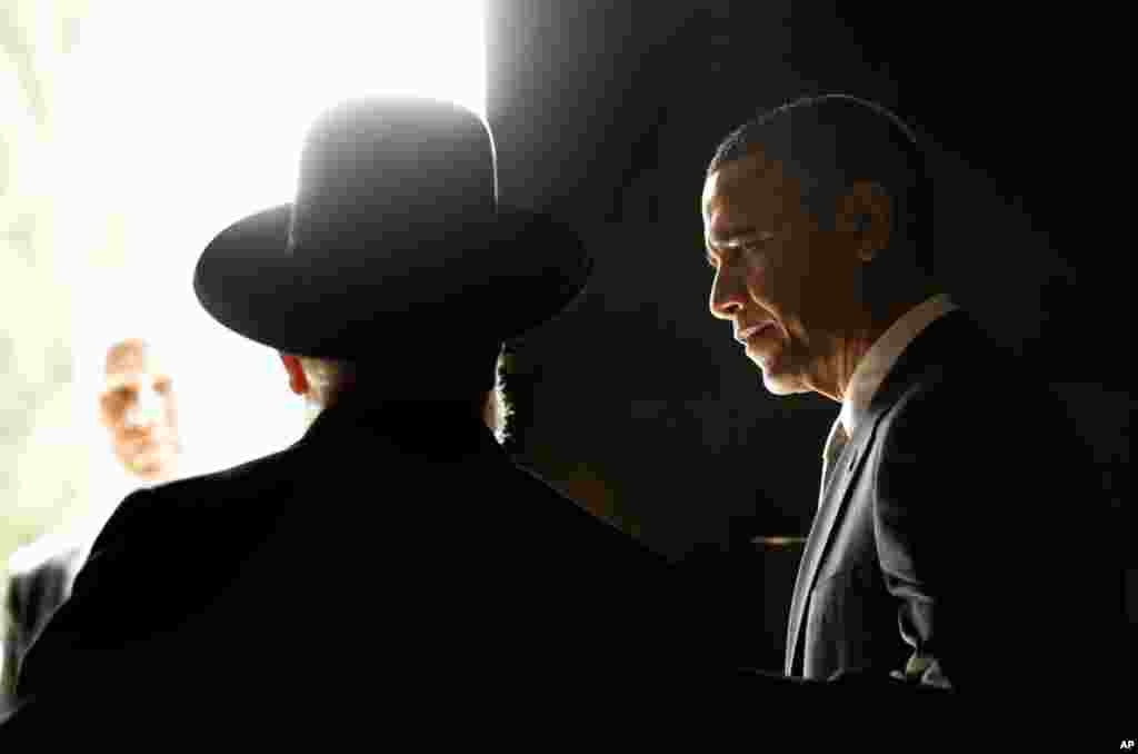 President Obama with Rabbi Israel Meir Lau, left, after visiting the Hall of Remembrance at the Yad Vashem Holocaust Memorial in Jerusalem, Israel, March 22, 2013.
