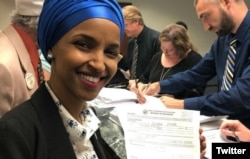 Somali immigrant Ilhan Omar files to run for US Congress on June 6, 2018.