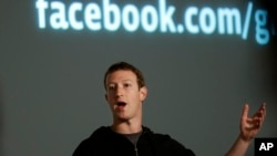 FILE - Facebook CEO Mark Zuckerberg speaks at Facebook headquarters in Menlo Park, Calif., Jan. 15, 2013.