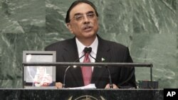 Asif Ali Zardari, President of Pakistan, addresses the 67th session of the United Nations General Assembly at U.N. headquarters Sept. 25, 2012.
