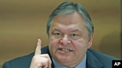 Greek Finance Minister Evangelos Venizelos said there have been no discussion of Greece defaulting on its debts during a news conference in Athens, October 4, 2011.