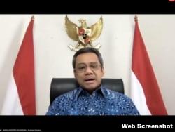 Wamenkeu Suahasil Nazara dalam telekonferensi pers di Jakarta , Rabu (30/9). (Foto: screenshot/Setpres RI)