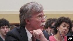 미 연방 하원에서 열린 이란, 시리아 문제 청문회에서 발언하는 존 볼튼 전 미국 유엔대사