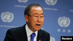 FILE - United Nations Secretary-General Ban Ki-moon speaks during a news conference at the United Nations Headquarters in New York.