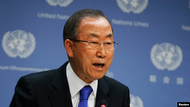 FILE - United Nations Secretary-General Ban Ki-moon speaks during a news conference at the United Nations Headquarters in New York, Sept. 9, 2013.