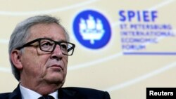 European Commission President Jean-Claude Juncker attends a session of the St. Petersburg International Economic Forum 2016 (SPIEF 2016) in St. Petersburg, Russia, June 16, 2016.