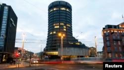坐落在瑞士巴塞尔的国际清算银行大厦。(资料照片)