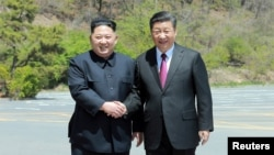 North Korean leader Kim Jong Un shakes hands with China's President Xi Jinping, in Dalian, China in this undated photo released on May 9, 2018 by North Korea's Korean Central News Agency (KCNA).