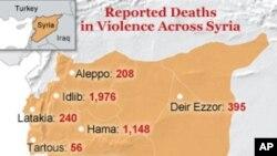 在敘利亞暴力造成的死亡人數(2011年3月18日到2012年3月18日)