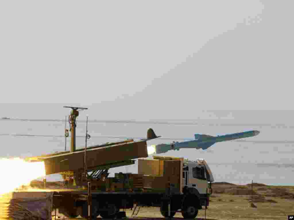 An Iranian ground-to-sea cruise missile called Qader (Capable) is launched during war games on January 2, 2012. (Reuters)