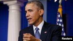 美國總統奧巴馬在12月19日的年終記者會上回答記者有關索尼影業公司遭駭客襲擊的問題。