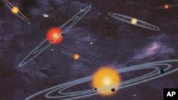 Gambar konsep planet yang dirilis oleh NASA ini menampilkan sistem multi-transit planet, yang menggambarkan bintang-bintang yang dikelilingi lebih dari satu planet. NASA mengumumkan penemuan 715 planet baru di luar tata surya, Rabu (26/2).