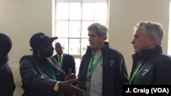 Former U.S. Secretary of State John Kerry and former Prime Minister of Senegal Aminata Touré, co-leaders of the Carter Center's election observation mission in Kenya, at the Westlands Primary School in Nairobi.