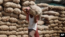 An Indian laborer carries a sack of onions at a warehouse in Jammu, India, August 22, 2013.