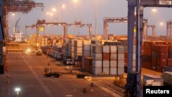 A general view of a container terminal is seen at Mundra Port in the western Indian state of Gujarat, India April 1, 2014.