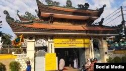 Cổng chùa Từ Hiếu - Tp. Hồ Chí Minh, nơi diễn ra lễ tang của Tăng thống Thích Quảng Độ. Photo Cung Dieu Ly