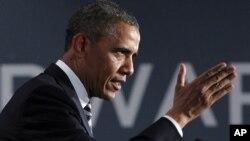6일 스탠포드에서 연설하고 있는 바락 오바마 대통령.