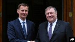 英國外交大臣亨特與美國國務卿蓬佩奧在倫敦會晤。 (2019年5月8日)
