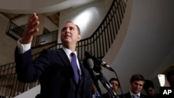 FILE - Rep. Adam Schiff, Democrat-California, a ranking member of the House Committee on Intelligence, speaks during a media availability after a closed-door meeting of the House Intelligence Committee on Capitol Hill, Feb. 5, 2018.